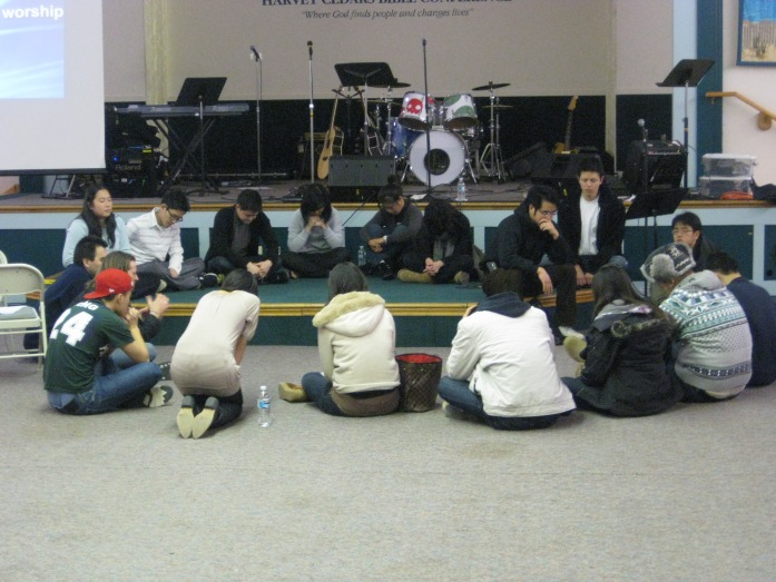Prayer Time with the Team and the small group Teachers