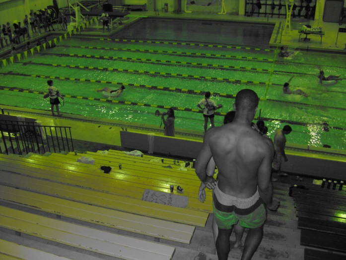 Swimming Relays were also and event, while some teams were racing in the water my job was to have the other teams doing stairs and planks.  For 4 hours 8pm -12am  I had the megaphone challenging them to press in in prayer for each other and stand on God's word for their strenght.  It was awesome but it was draining as I poured myself out like a drink offering with my words and encouragement.