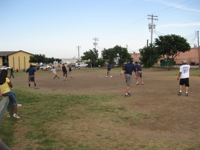Our guys playing soccer at the apartment complex in Dallas during the outreach with El Camino church