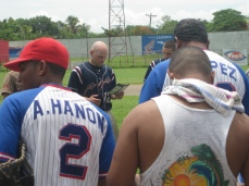 "Jordan Rennicke sharing the gospel with the ""Granada Sharks"" a Premiere League baseball team in Nicaragua"