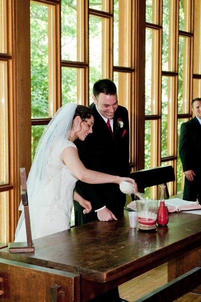 Raquel & Brett sand pouring ceremony